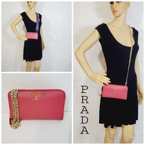 Prada Auth  leather red/pink long zip up wallet